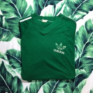 Vintage 80s Adidas Trefoil Green Shirt USA Medium